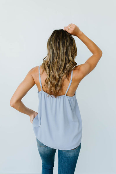 Subtle Scalloped V-Neck Cami In Dusty Blue *Final Sale*-[option4]-[option5]-[option6]-[option7]-[option8]-Womens-Clothing-Shop