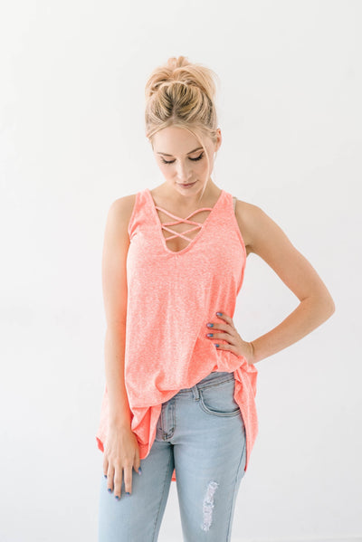 Sun's Out Tank In Coral-[option4]-[option5]-[option6]-[option7]-[option8]-Womens-Clothing-Shop