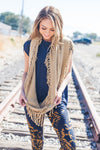Tasseled Infinity Scarf In Khaki-Khaki-[option4]-[option5]-[option6]-[option7]-[option8]-Womens-Clothing-Shop