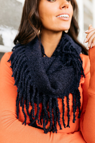 Tasseled Infinity Scarf In Navy-One Size-[option4]-[option5]-[option6]-[option7]-[option8]-Womens-Clothing-Shop