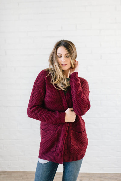 The London Cable Knit Cardi in Burgundy-[option4]-[option5]-[option6]-[option7]-[option8]-Womens-Clothing-Shop