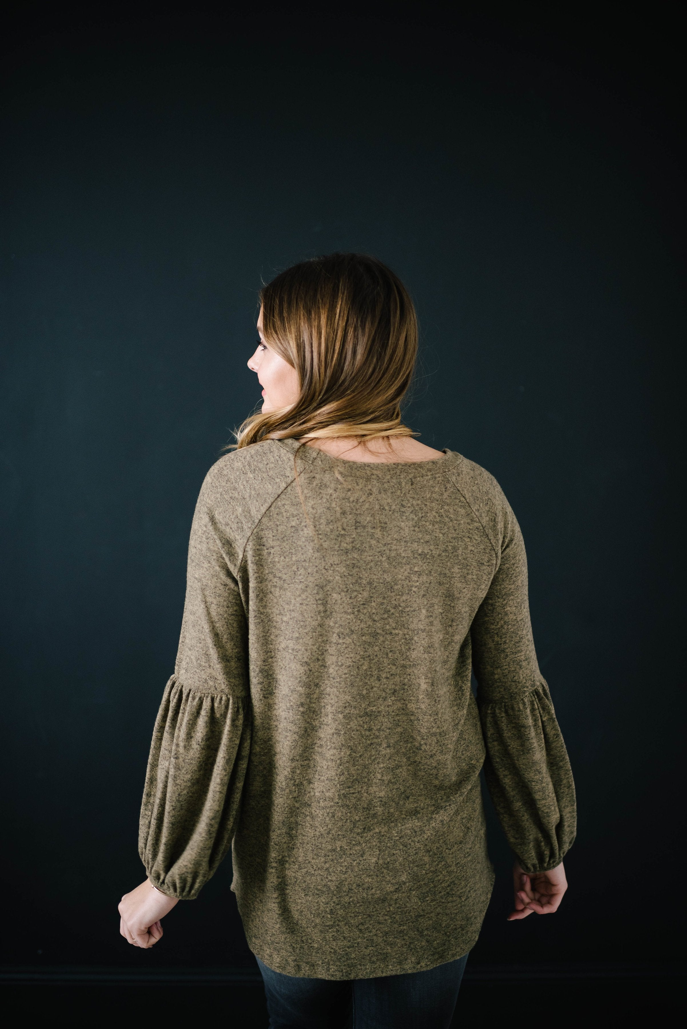 The Madison Top in Heathered Olive