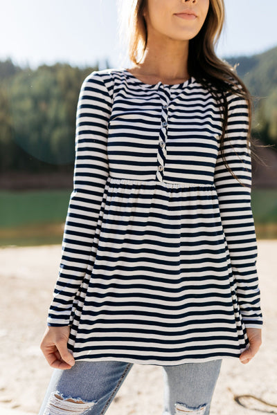 The Sailor Striped Peplum in Navy & White-[option4]-[option5]-[option6]-[option7]-[option8]-Womens-Clothing-Shop