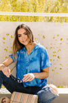 Tie & Tie Dye Top In Sky-[option4]-[option5]-[option6]-[option7]-[option8]-Womens-Clothing-Shop