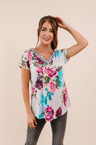 Unexpected Flowers V-Neck Top-[option4]-[option5]-[option6]-[option7]-[option8]-Womens-Clothing-Shop