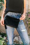 Velvet Chevron Crossbody Bag