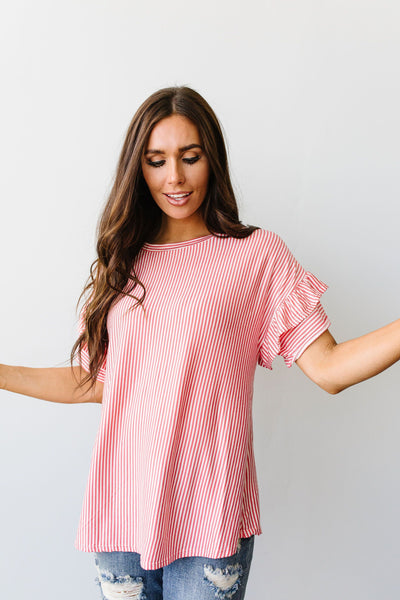 Vertical Horizon Striped Top In Coral-[option4]-[option5]-[option6]-[option7]-[option8]-Womens-Clothing-Shop