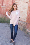 Wear Your Heart On Your Sleeve Sweater In Pale Pink-[option4]-[option5]-[option6]-[option7]-[option8]-Womens-Clothing-Shop