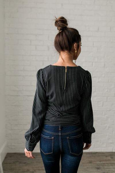 Wrap Around Pinstriped Blouse-[option4]-[option5]-[option6]-[option7]-[option8]-Womens-Clothing-Shop