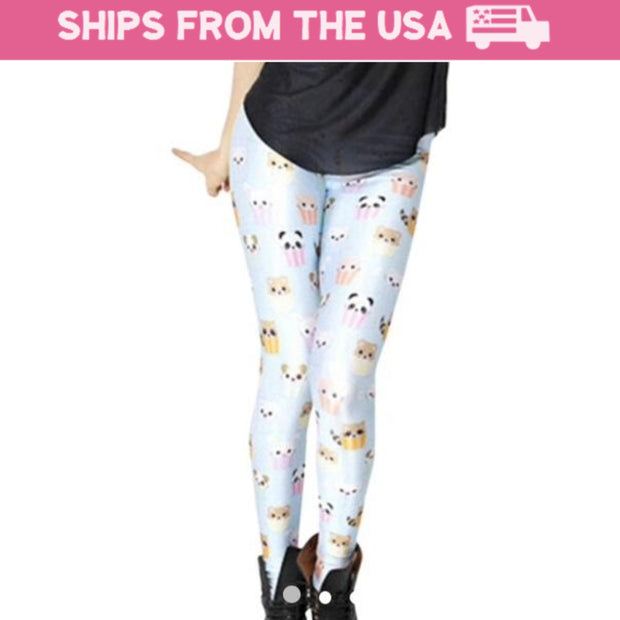 Blue Kawaii Cupcake Leggings