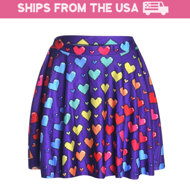 Rainbow Hearts Skater Skirt