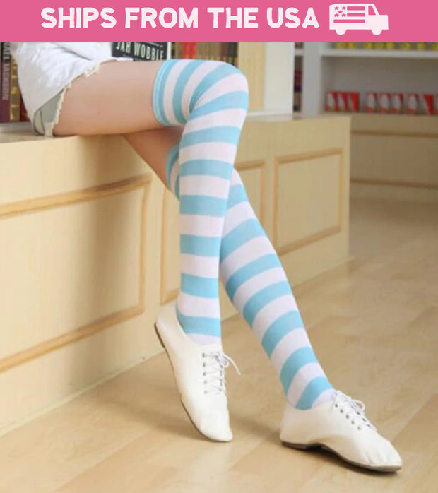 Kawaii Striped Thigh-High Socks (6 Colors Available)