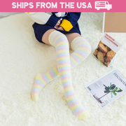 Cozy Pastel Striped Fleece Thigh-High Socks (4 Styles Available)