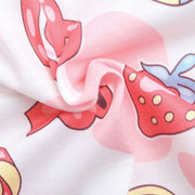 Kawaii Snack Time Love Sleeve Button-Up Onesie Pajamas
