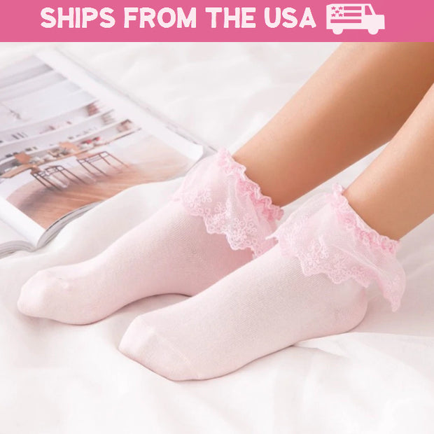 Ruffled Lace Ankle Socks (5 Colors Available)