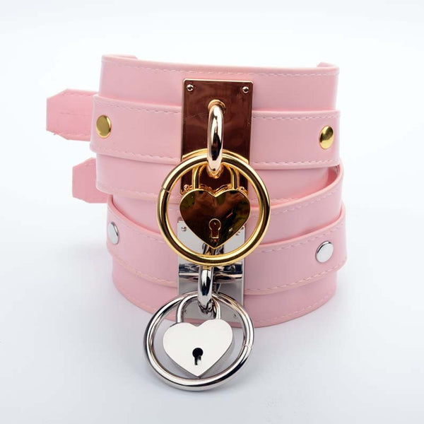 Oversized Pink Padlock Collar and Key (2 Colors Available)