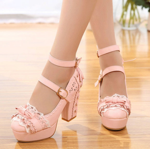 So Kawaii Lace Lolita Heels (3 Colors Available)