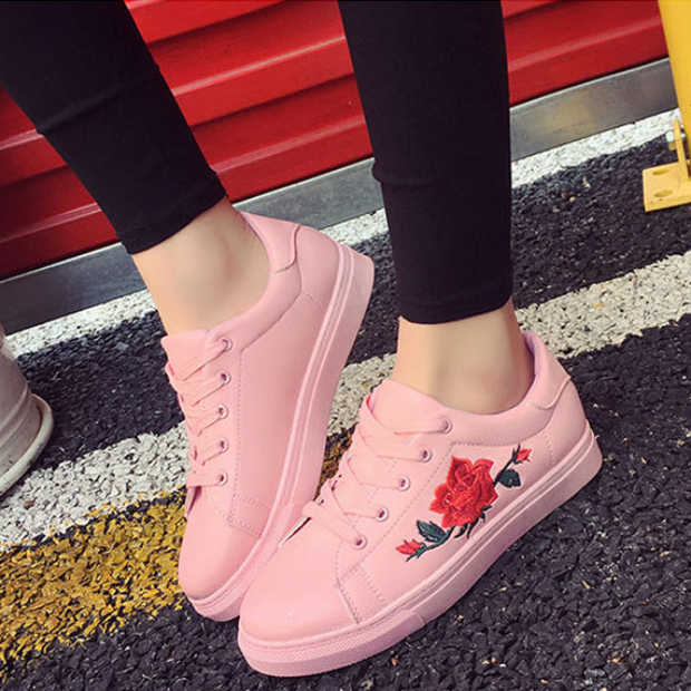 Embroidered Rose Sneakers (3 Colors Available)