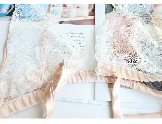 Soft Pink Sexy Lace 3-Piece Lingerie Set