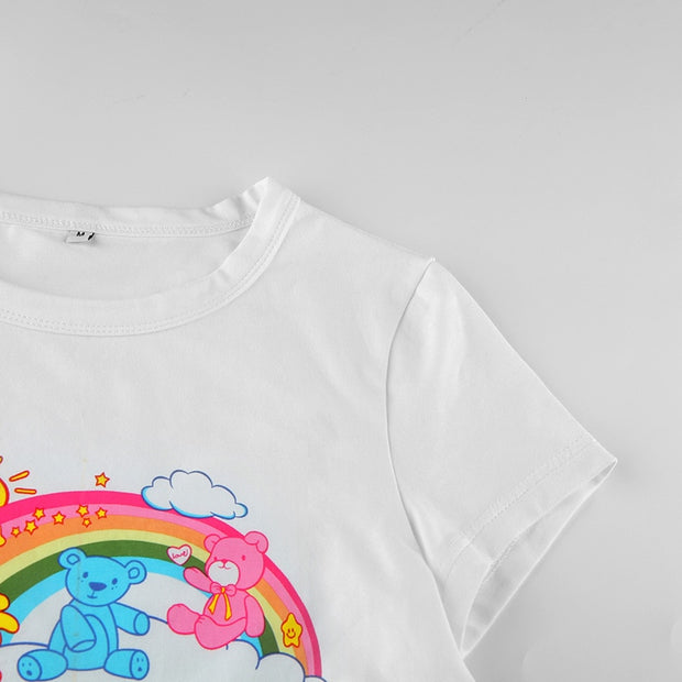 """Such Cute"" Rainbow Bear Crop Top"