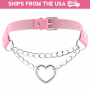 Heart in Chains Collar (5 Colors Available)