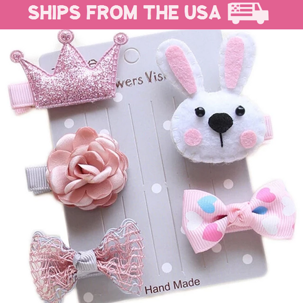 Pink Bunny 5-Piece Hair Accessory Set