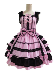 Black and Pink Chiffon Lace Lolita Dress