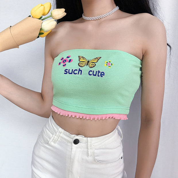Such Cute Pastel Butterfly Tube Crop Top