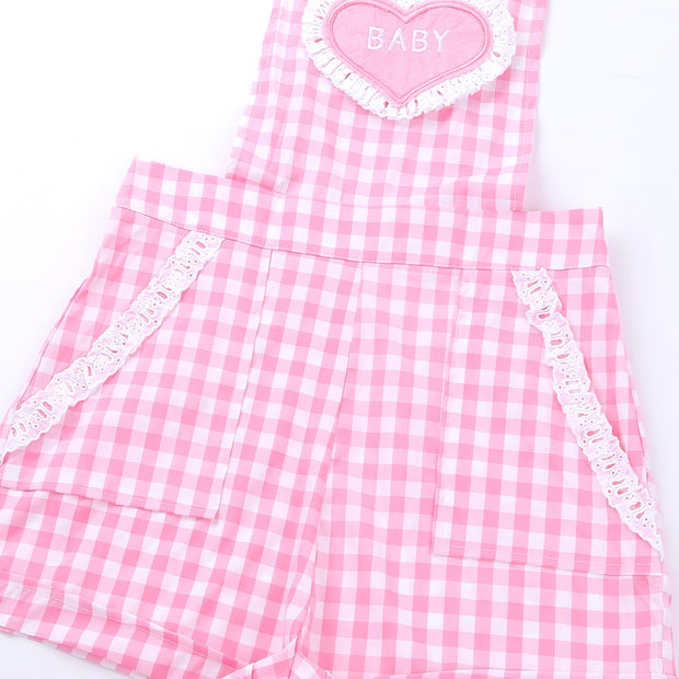 Pink Baby Embroidered Overalls