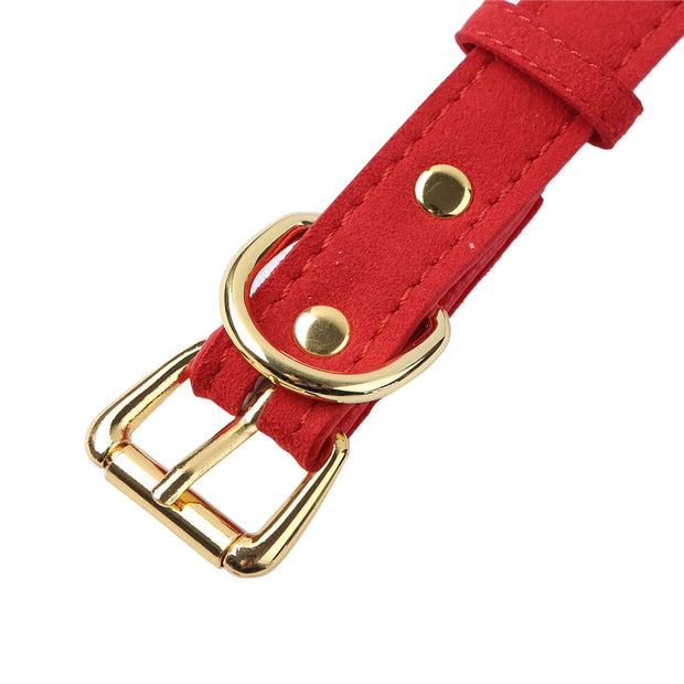 Cute Vegan Leather Bell Collar (3 Colors Available)