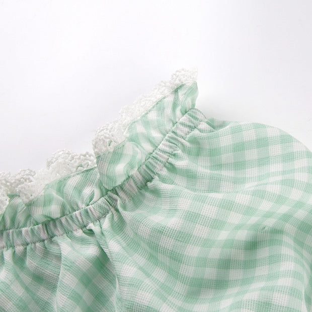 Pastel Dolly Gingham Crop Top
