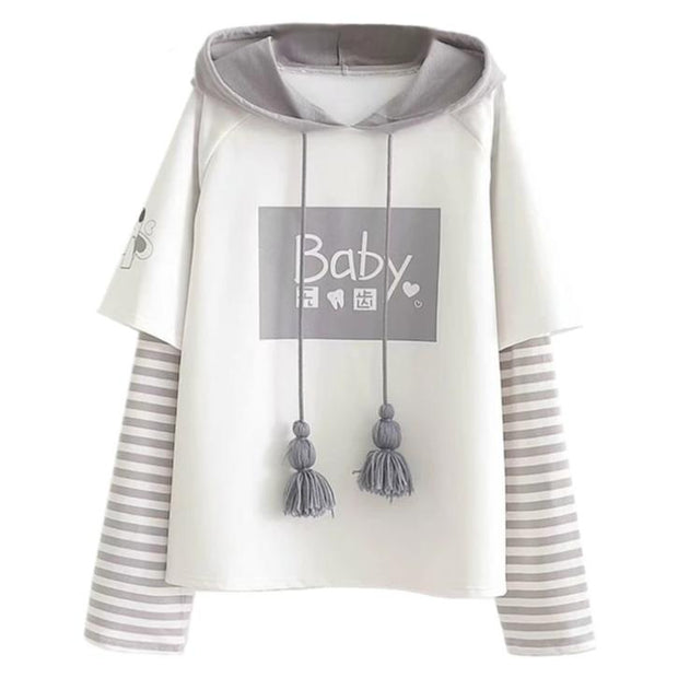 """Baby"" Striped Sleeve Sweatshirt"