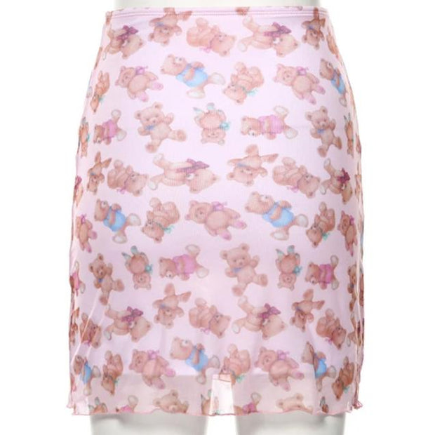 Sheer Mesh Teddy Bear Pencil Skirt