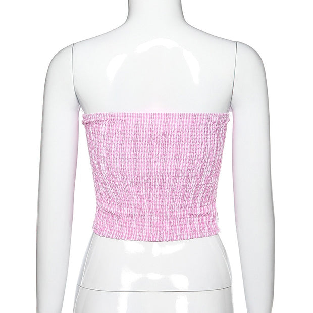 Bows & Lace Gingham Crop Top (2 Colors Available)