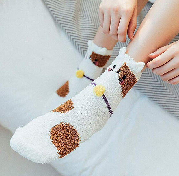 Warm Fleece Kitten Socks (5 Colors Available)