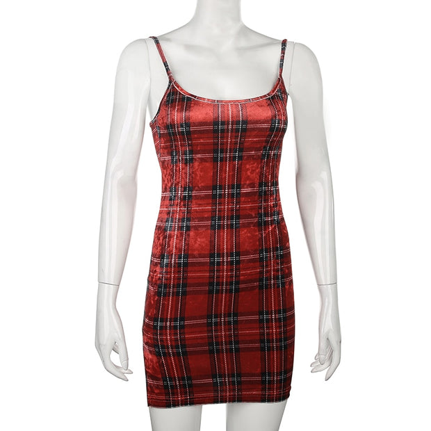 Red Plaid Sleeveless Mini Dress