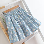 Blue Floral Pleated Mini Skirt