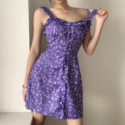 Purple Floral Ruffled Mini Dress