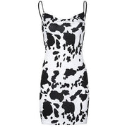 Sexy Backless Cow Print Dress