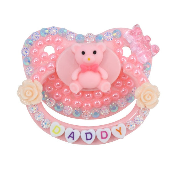 """Daddy"" Pink Teddy Decorated Adult Pacifier"