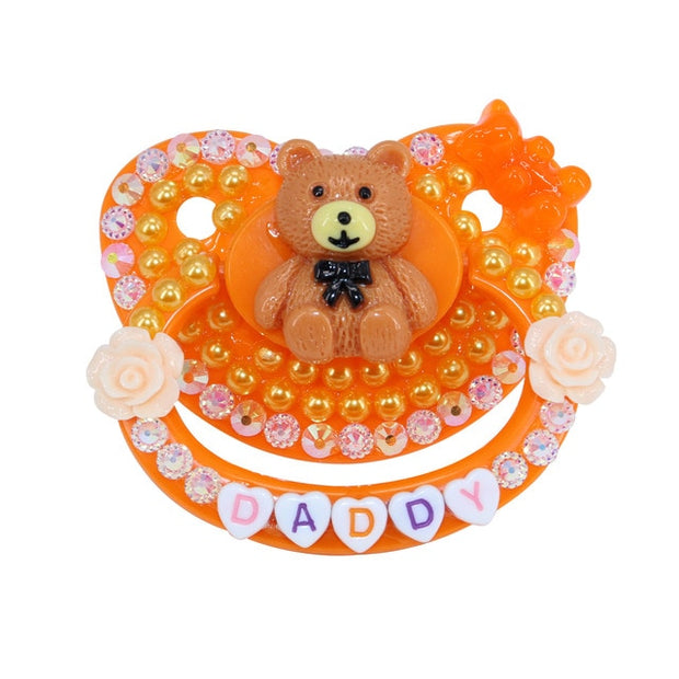 """Daddy"" Orange Teddy Decorated Adult Pacifier"