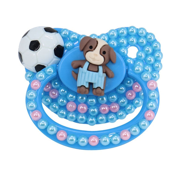 Blue Soccer Puppy Decorated Adult Pacifier