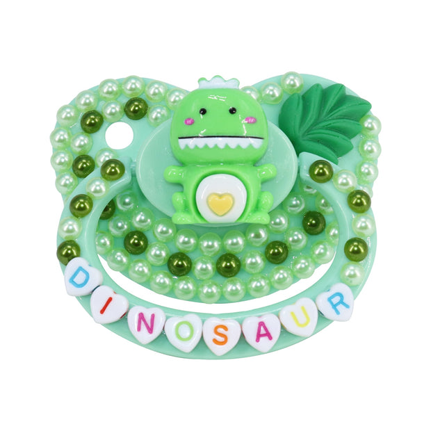 Green Dinosaur Decorated Adult Pacifier