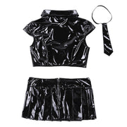 Sexy Vegan Leather School Girl Lingerie Set
