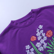 """Don't Hurt Me"" Purple Floral Sweatshirt"