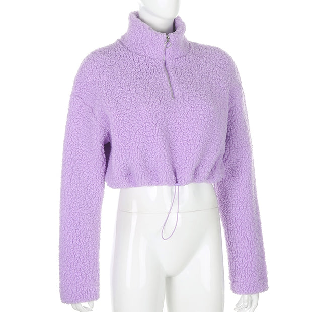 Cute & Cozy Purple Crop Top Sweatshirt