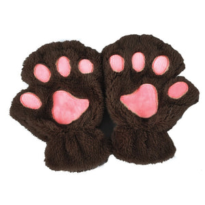 Little Kitten Brown Fingerless Mittens