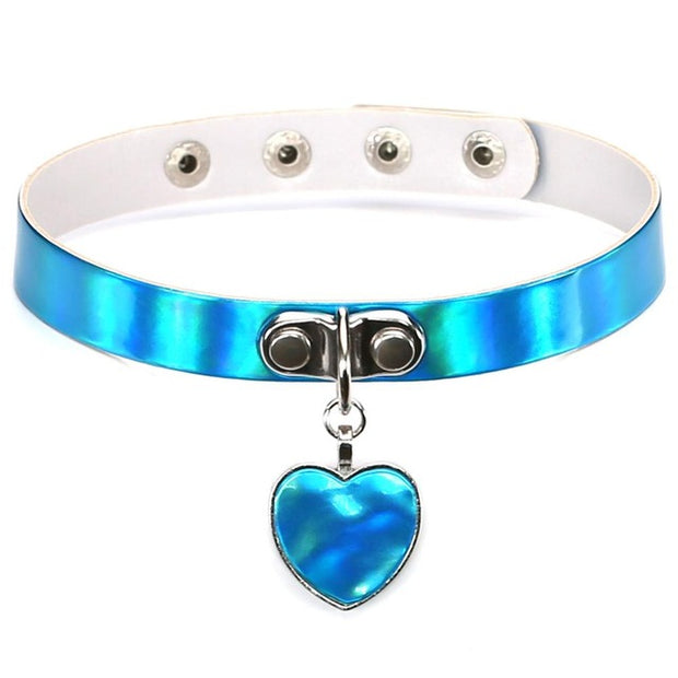 Holo Heart Pendant Collar (4 Colors Available)