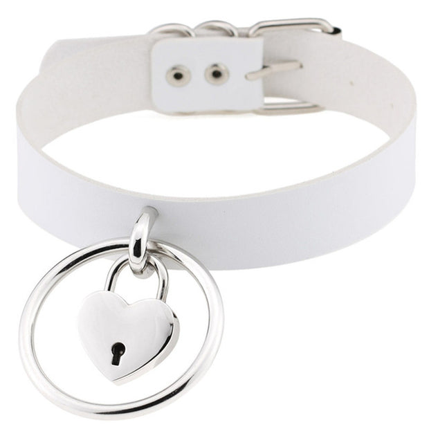 Round Ring Heart Lock Collar (13 Colors Available)