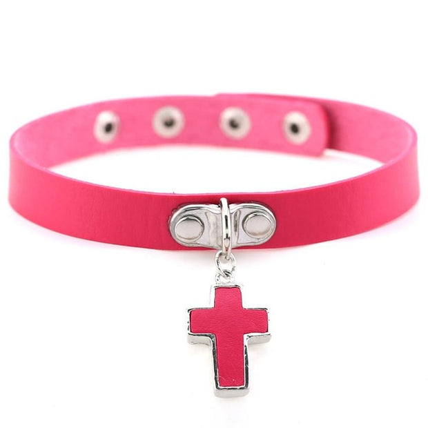 Cross Pendant Collar (14 Colors Available)